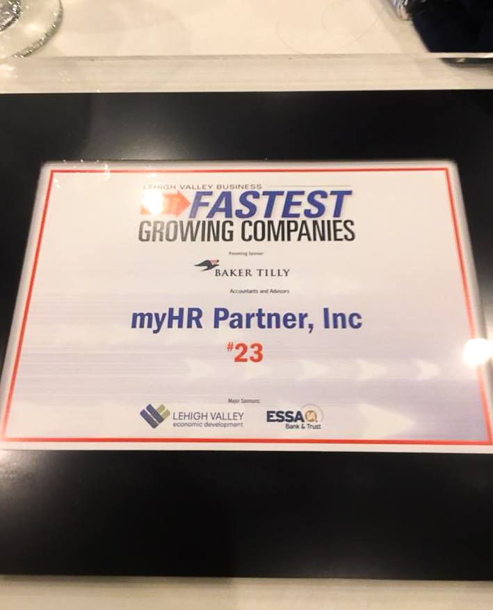 myHR Partner at an awards ceremony for fastest growing companies